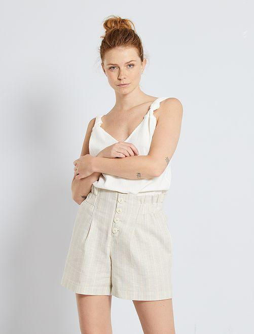 Shorts eco-sostenibili contenenti lino                             BEIGE