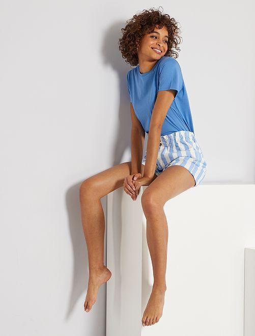 Shorts in denim a righe                                                                 BLU