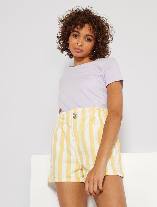 Shorts in denim a righe                                                                 GIALLO