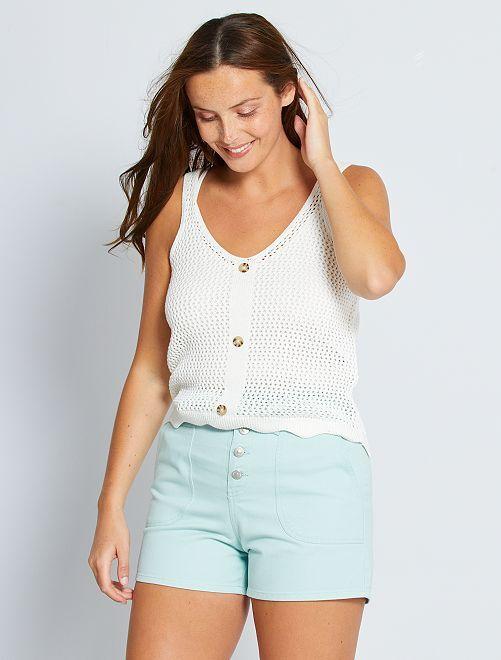 Shorts in denim con cintura                                         blu