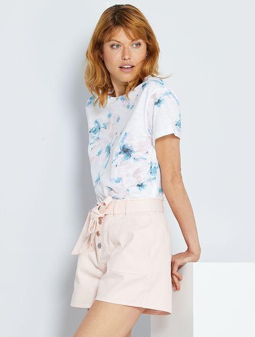 Shorts in denim con cintura                                         ROSA
