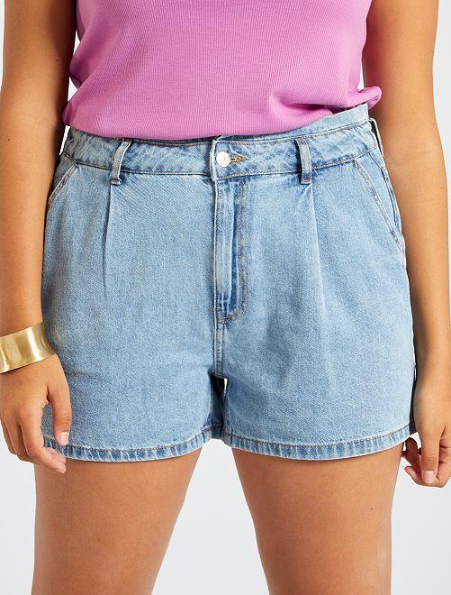 Shorts in denim con vita elasticizzata                             BLU