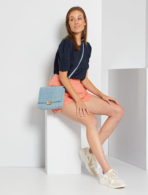 Shorts in garza di cotone eco-sostenibili                                                                             ARANCIONE