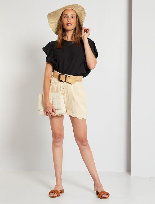 Shorts in garza di cotone eco-sostenibili                                                                             BEIGE