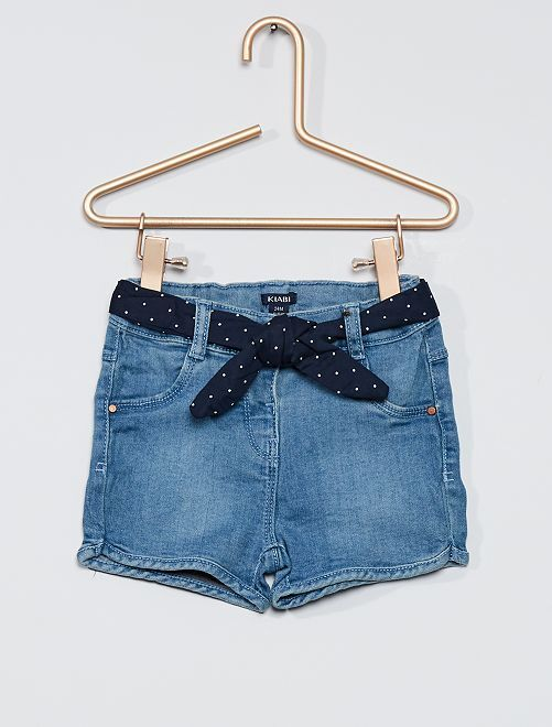 Shorts in jeans cintura pois                             BLU