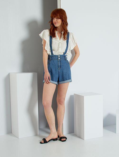 Shorts in jeans con bretelle                             BLU