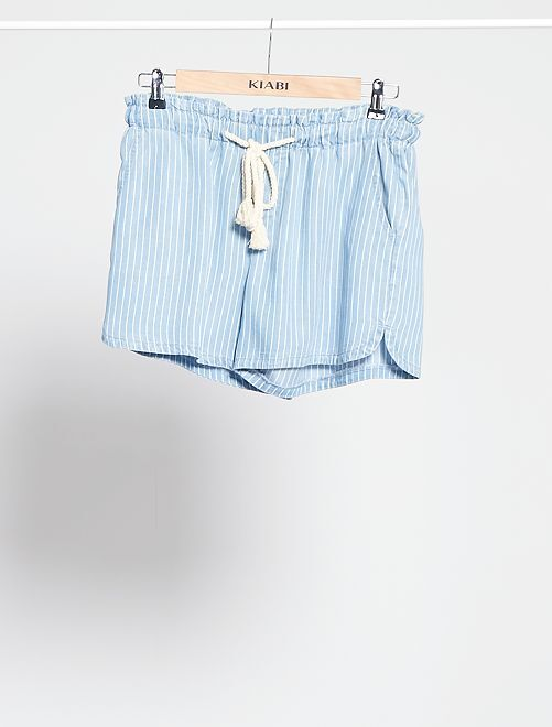 Shorts in lyocell con cintura in corda                                         BLU