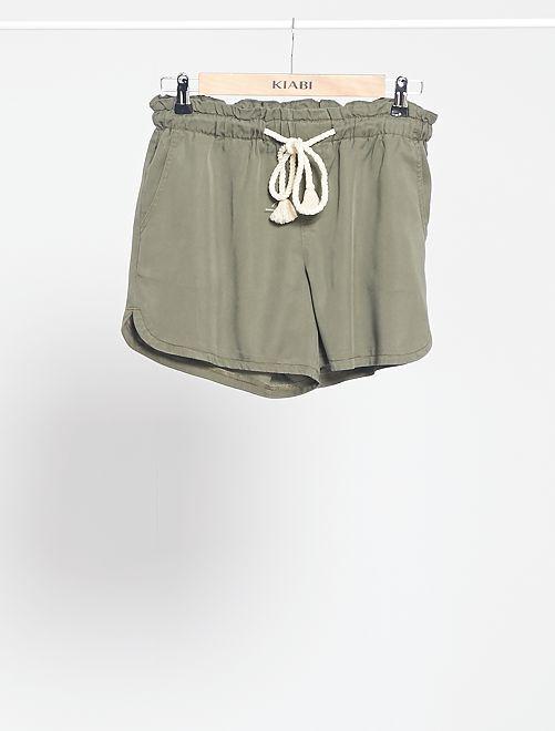 Shorts in lyocell con cintura in corda                                         KAKI