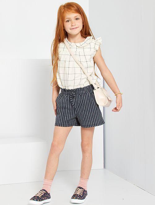 Shorts in maglia stropicciata                                                     blu