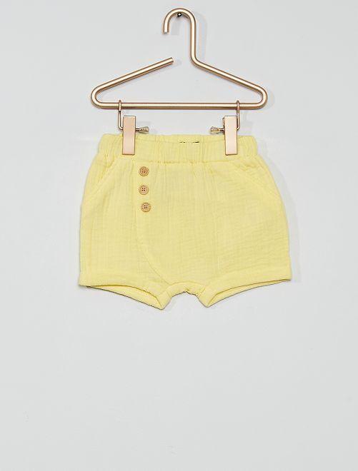 Shorts in panno eco-sostenibile                                                     giallo limone