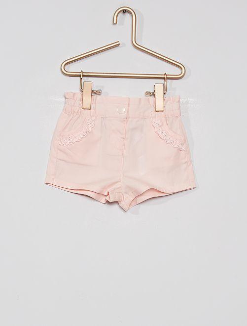 Shorts in popeline eco-sostenibile                                                                                                                 rosa