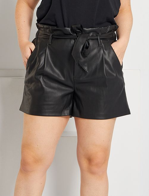Shorts in similpelle 'paper bag'                                         nero