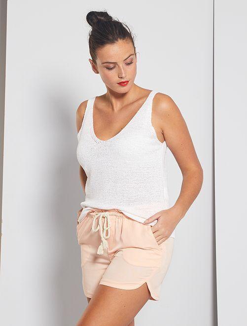 Shorts in tencel con cintura a cordoncino                                                                 ROSA