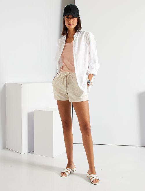 Shorts in tessuto felpato                                                                             MARRONE