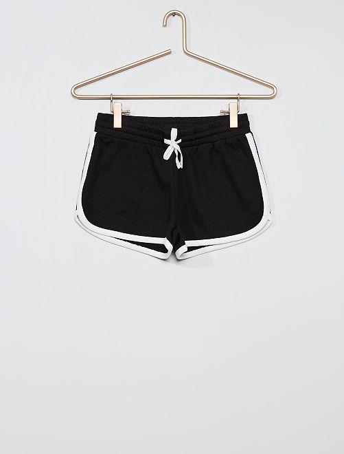 Shorts in tessuto felpato                                         nero