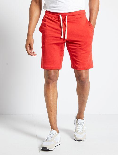 Shorts in tessuto felpato                     ROSSO