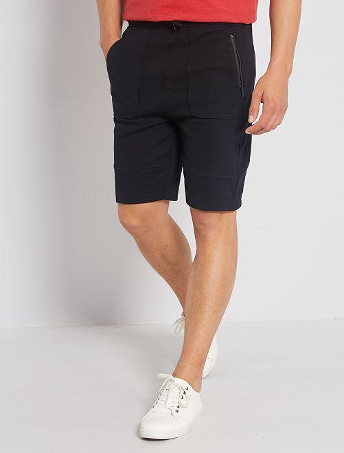 Shorts in tessuto felpato sportswear                             nero