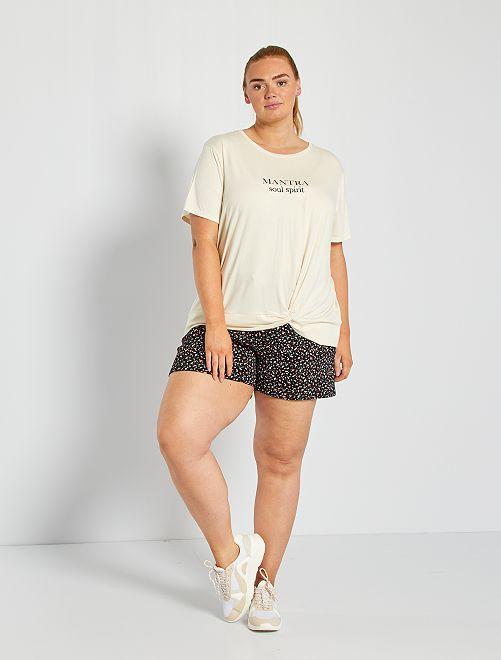 Shorts in tessuto felpato stampa 'maculata'                                         NERO