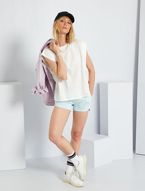 Shorts in tessuto felpato tye and dye                                                                 BLU
