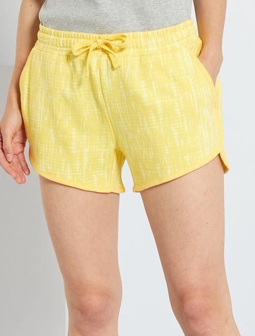 Shorts in tessuto felpato tye and dye                                                                 GIALLO