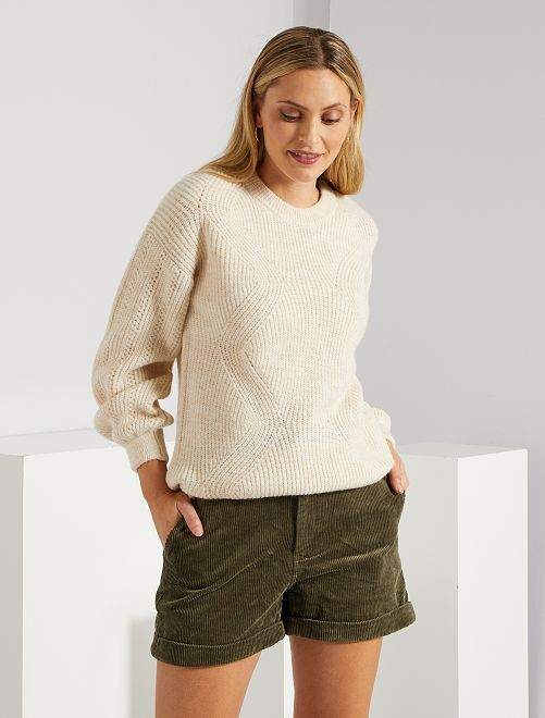 Shorts in velluto a coste                                         KAKI