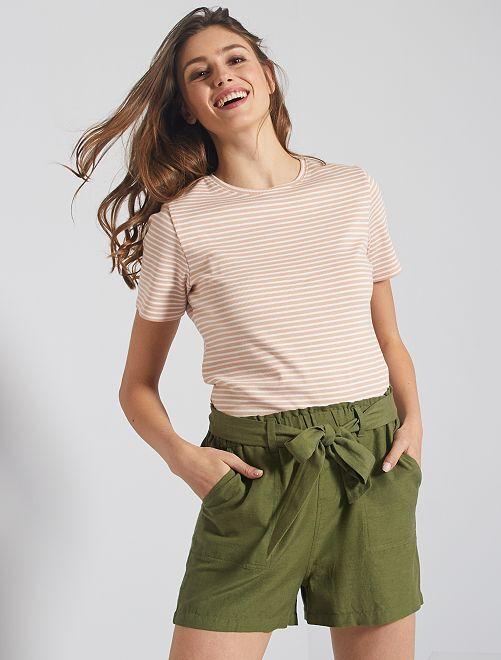 Shorts in viscosa e lino                                         KAKI