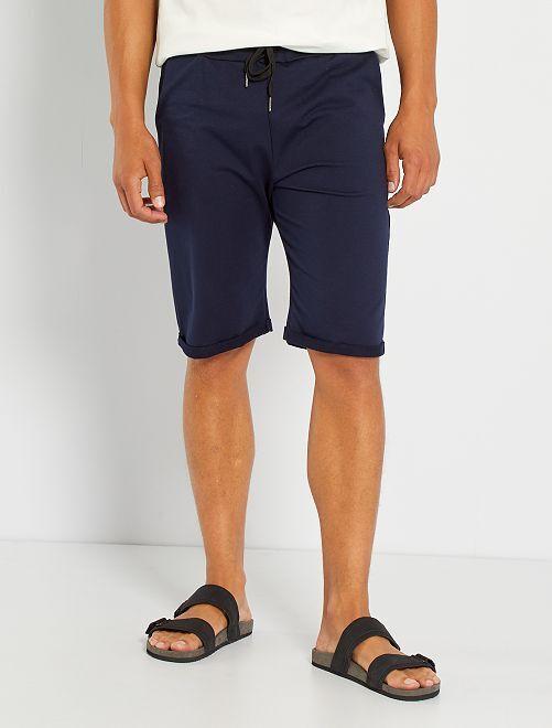 Shorts lunghi in tessuto felpato leggero                                                                             BLU