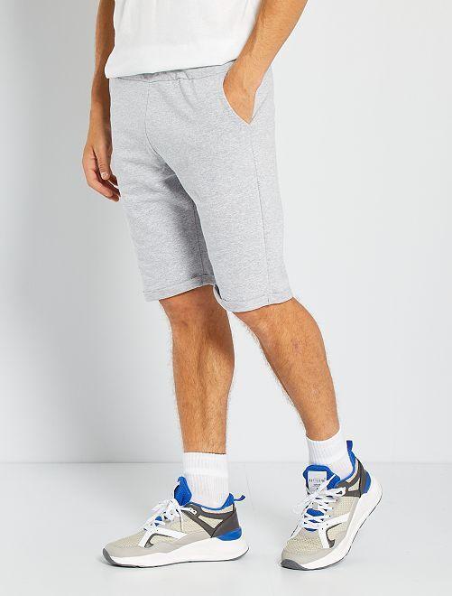 Shorts lunghi in tessuto felpato leggero                                                                             grigio