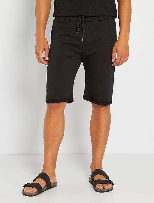 Shorts lunghi in tessuto felpato leggero                                                                             nero
