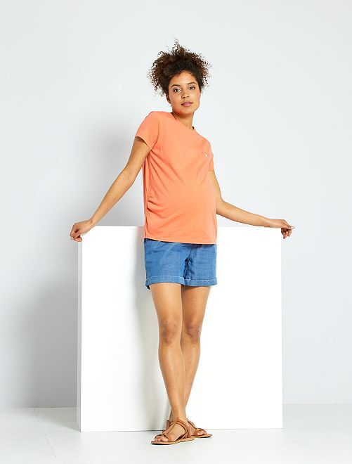 Shorts premaman in lyocell                             BLU