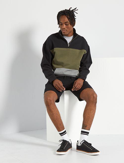 Shorts sportivi in maglia piquée                             nero