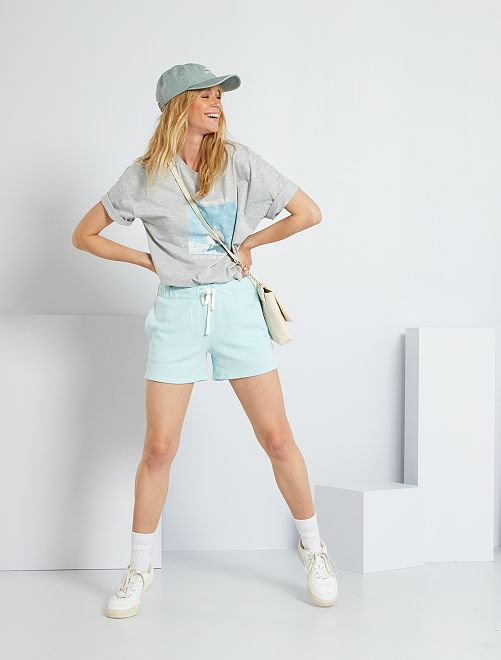 Shorts sportivi in tessuto felpato                                                     blu chiaro