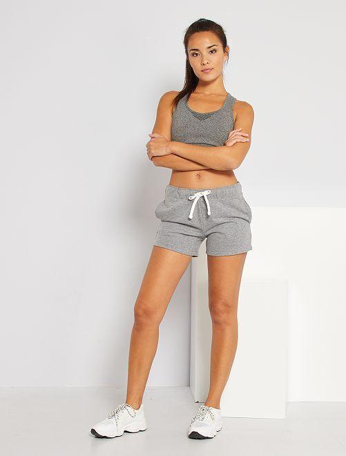 Shorts sportivi in tessuto felpato                                                                                                                 GRIGIO