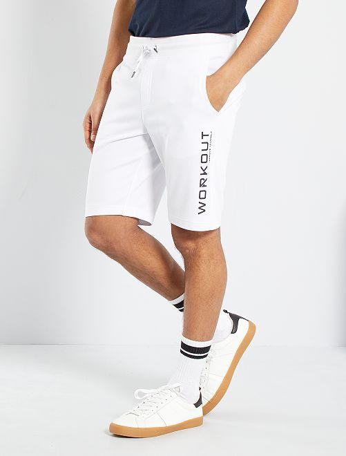 Shorts sportswear in tessuto felpato                             BIANCO