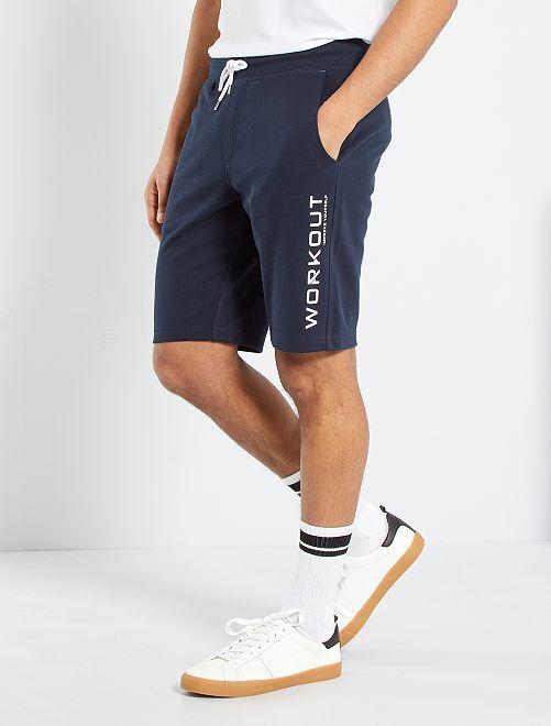 Shorts sportswear in tessuto felpato                                         BLU