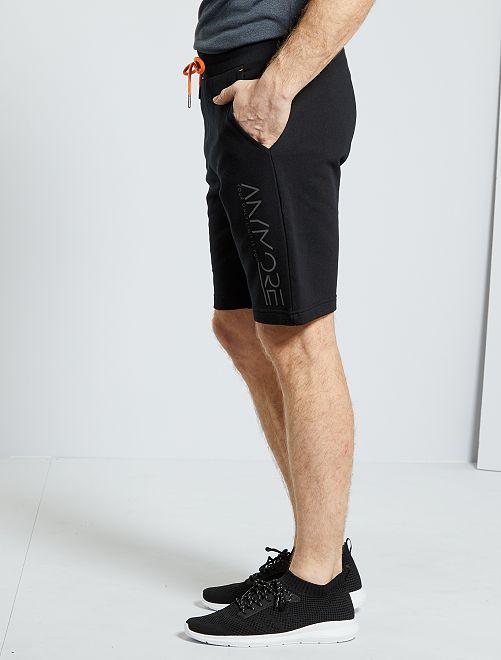 Shorts sportswear in tessuto felpato                     nero