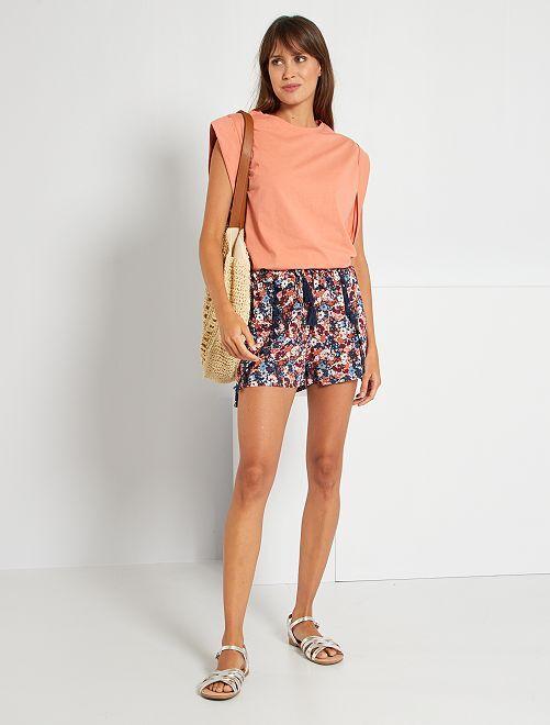 Shorts stampati con pompon                                                     ROSA