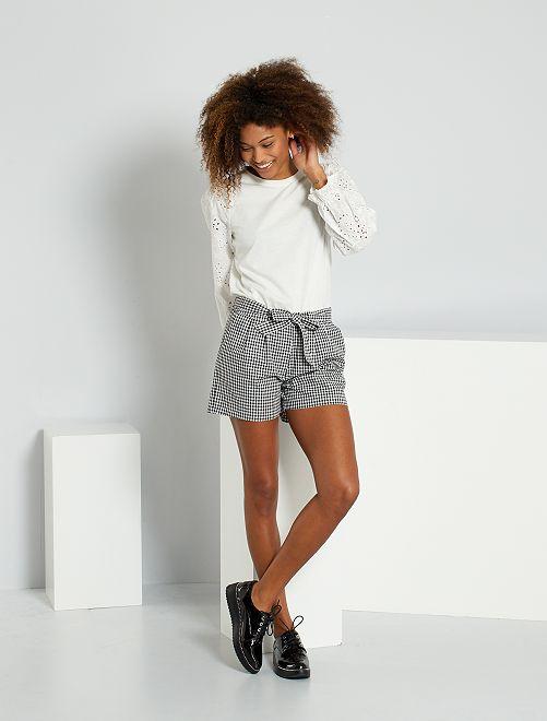 Shorts stampati 'vichy'                             NERO