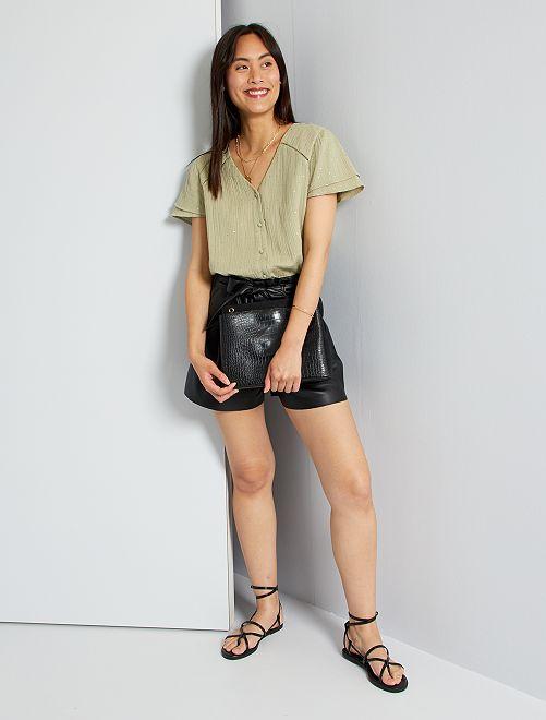 Shorts taglio paperbag                                         nero