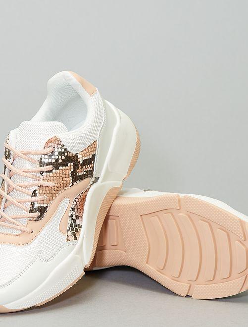 Sneaker effetto pelle di serpente                             BIANCO