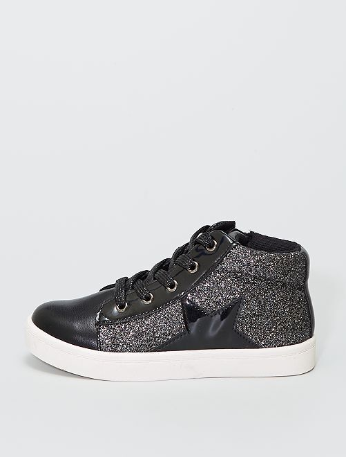 Sneakers alte con paillettes e patch 'stelle'                             nero