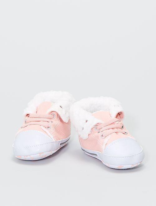 Sneakers alte imbottite in tela                                                     rosa