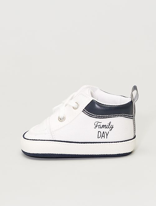Sneakers alte in tela                             bianco neve