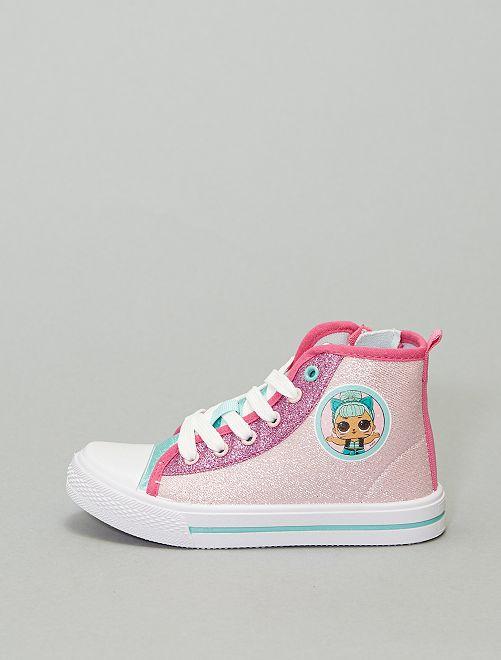 Sneakers alte in tela con paillettes 'LOL sorpresa'                             rosa