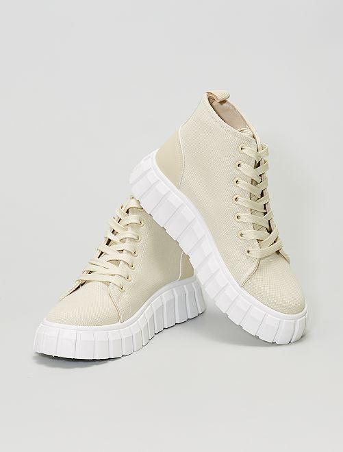 Sneakers alte in tela con suola spessa                             BEIGE