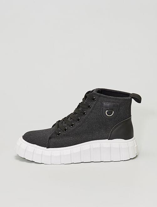Sneakers alte in tela con suola spessa                             nero