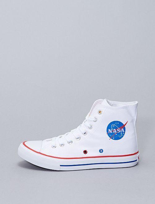 Sneakers alte in tela 'NASA'                             bianco