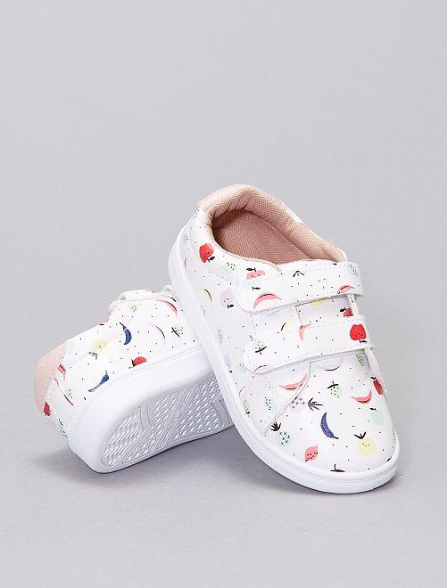 Sneakers basse con stampa 'frutti'                             bianco