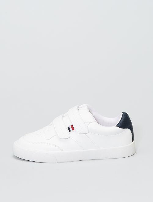 Sneakers basse con strappi                             bianco
