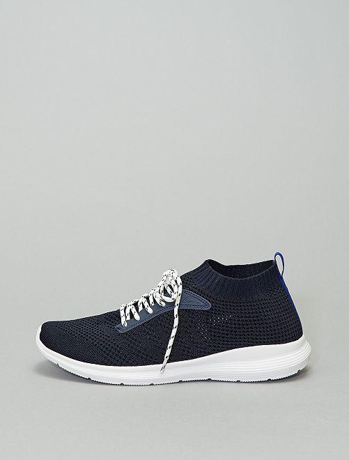 Sneakers basse effetto tessuto                             BLU